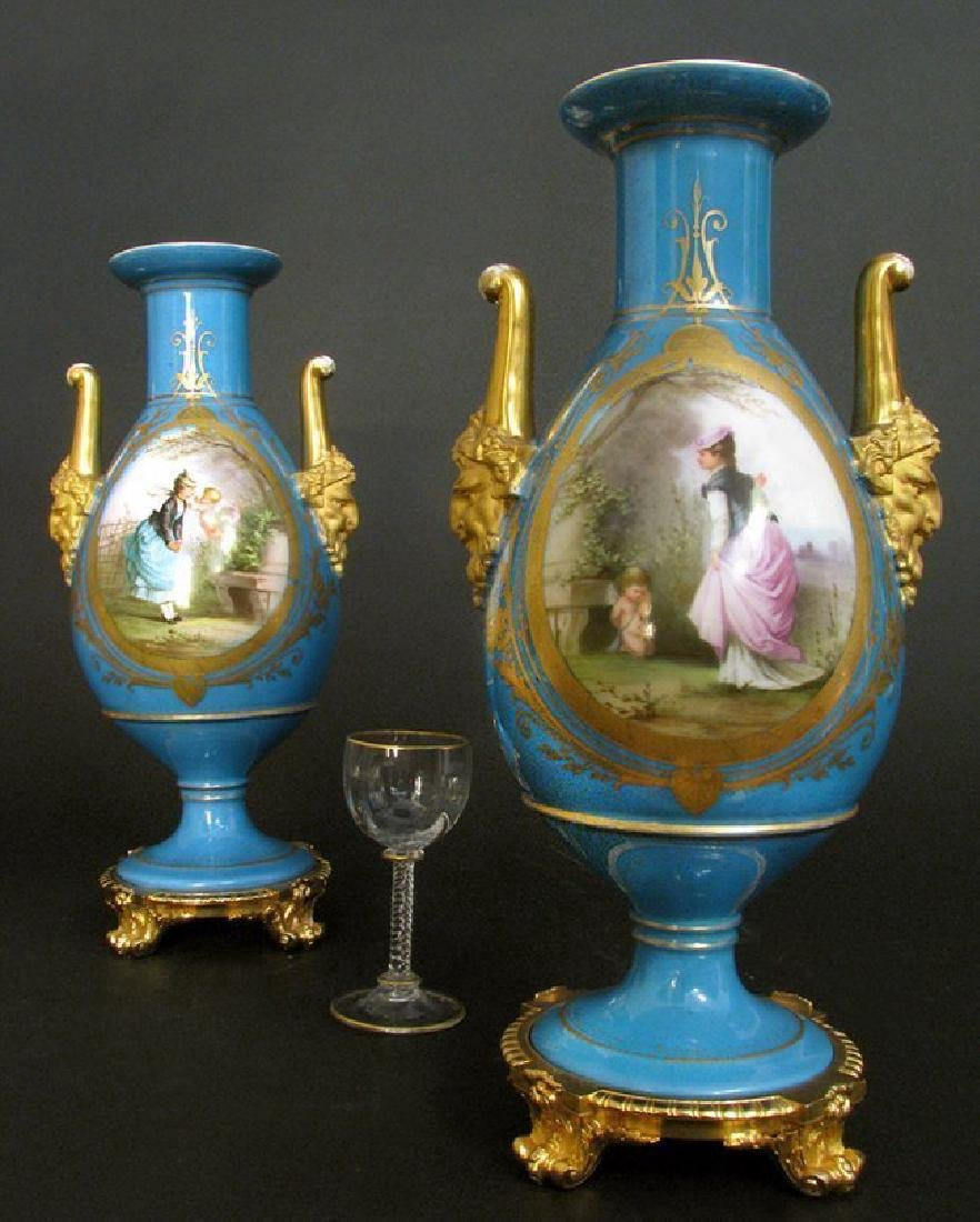 19th C. Pair of Hand Painted Sevres Style Vases - 2