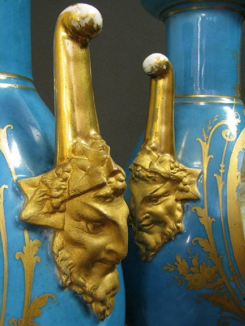 19th C. Pair of Hand Painted Sevres Style Vases - 6