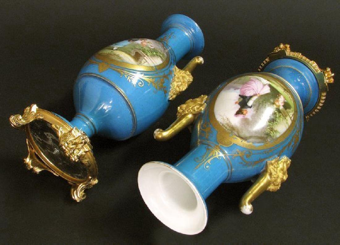 19th C. Pair of Hand Painted Sevres Style Vases - 9