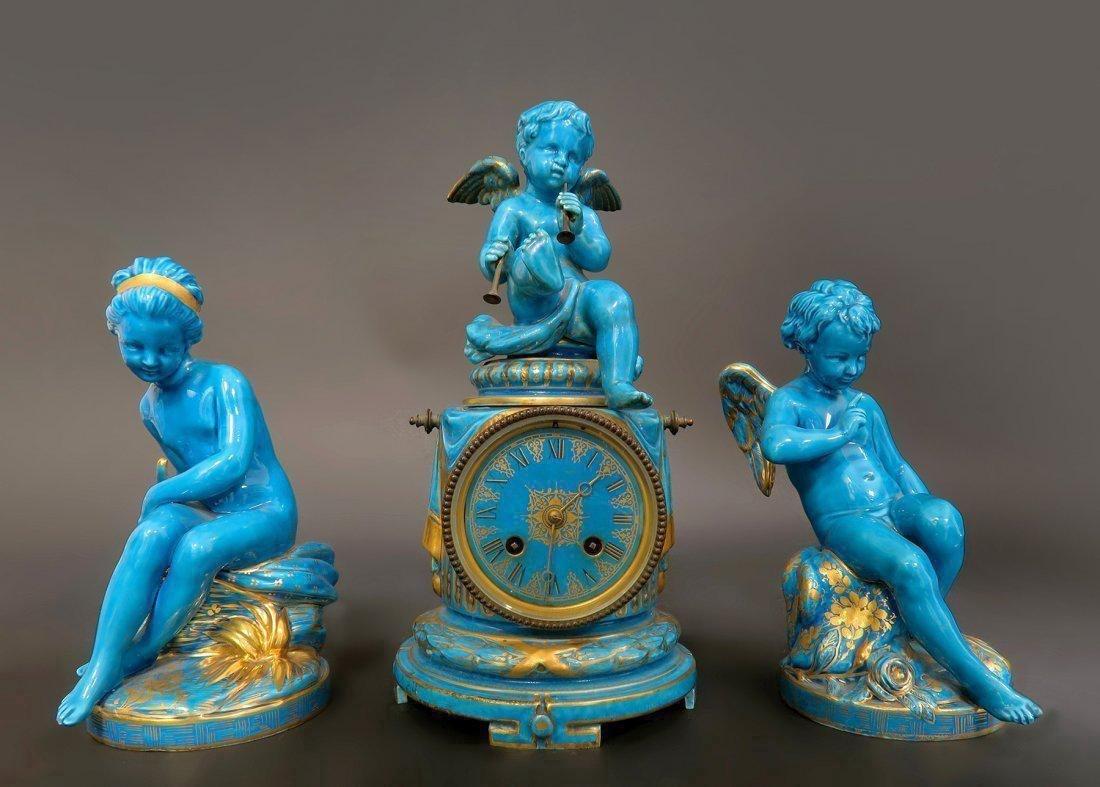 19th C. Turquoise Blue Sevres Porcelain Clock Set