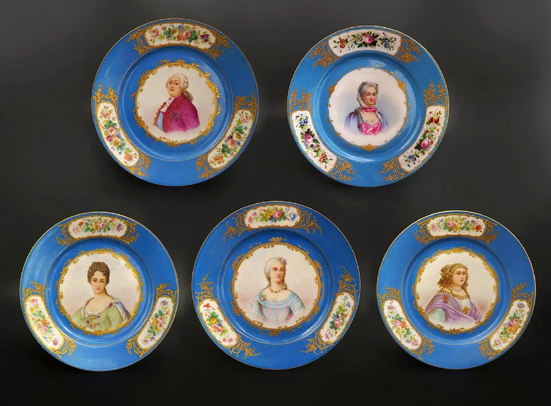Set of 5 Hand Painted Portrait Sevres Plates