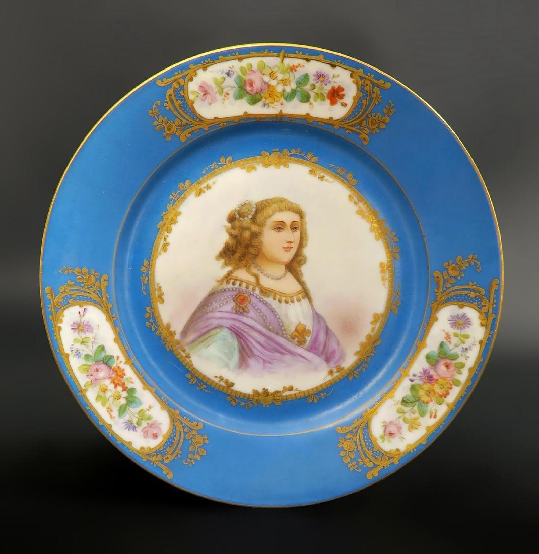 Set of 5 Hand Painted Portrait Sevres Plates - 2