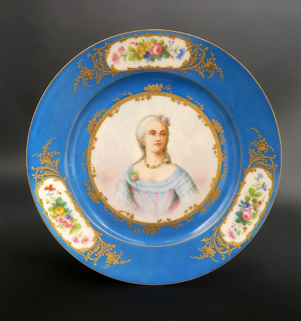 Set of 5 Hand Painted Portrait Sevres Plates - 3