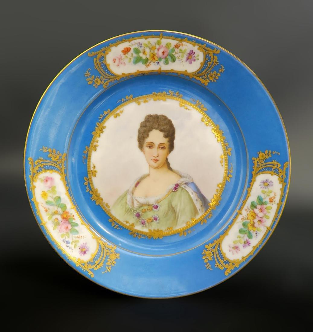 Set of 5 Hand Painted Portrait Sevres Plates - 4
