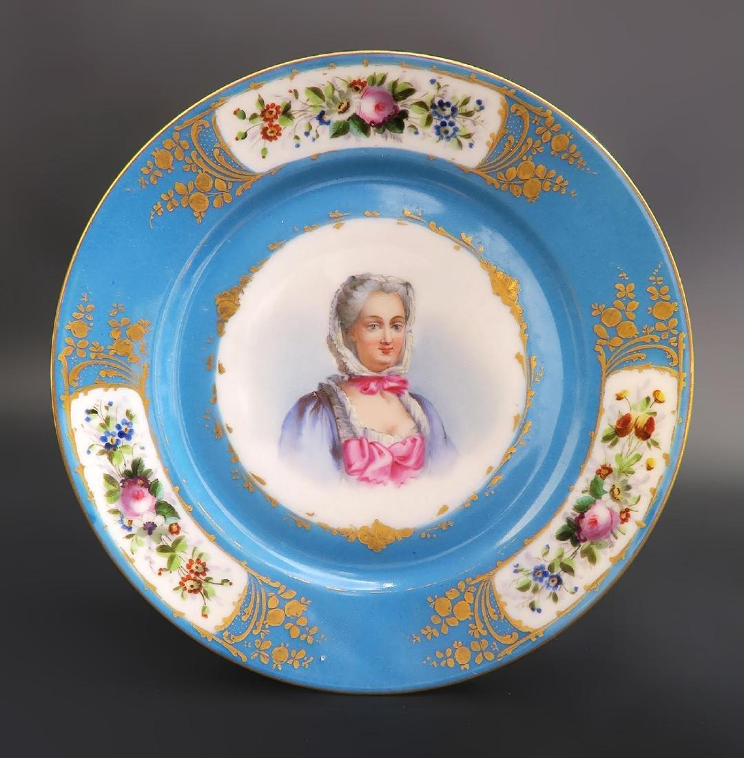 Set of 5 Hand Painted Portrait Sevres Plates - 5