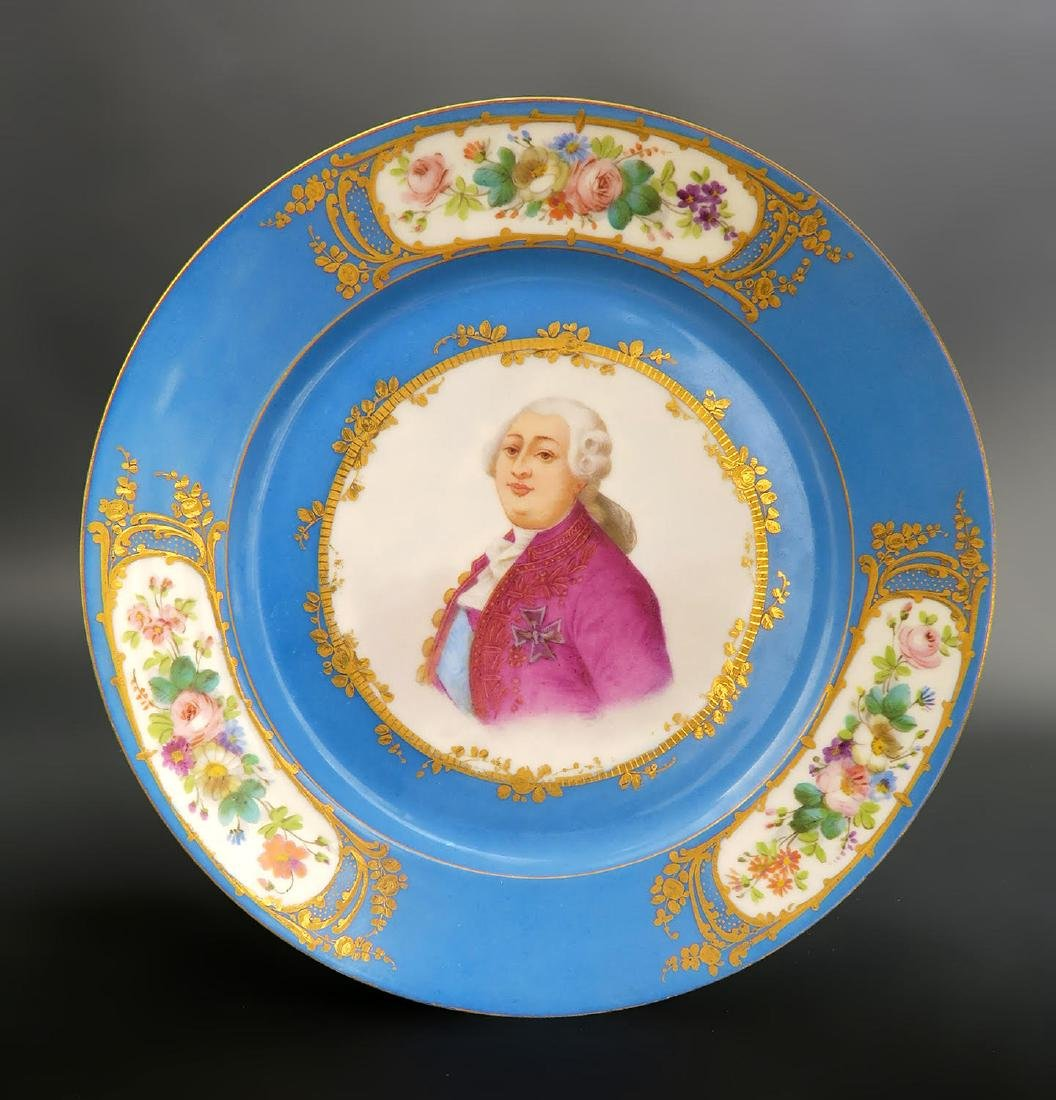 Set of 5 Hand Painted Portrait Sevres Plates - 6