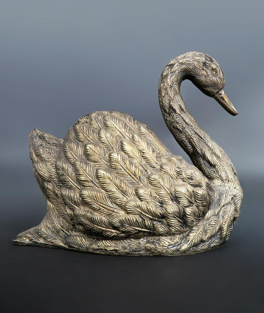 19th C French Silver-Plated Swan Vase - 3