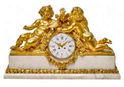 AN IMPOSING FRENCH GILT BRONZE AND MARBLE MANTEL CLOCK
