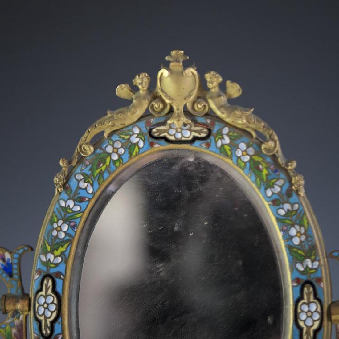Napoleon III French Champleve Dore Bronze Mirror - 2