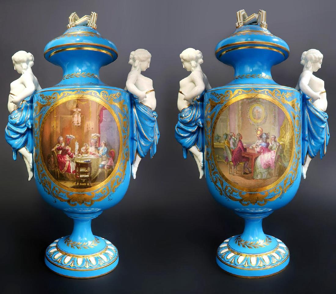 Pair of French Figural Sevres Porcelain Urns