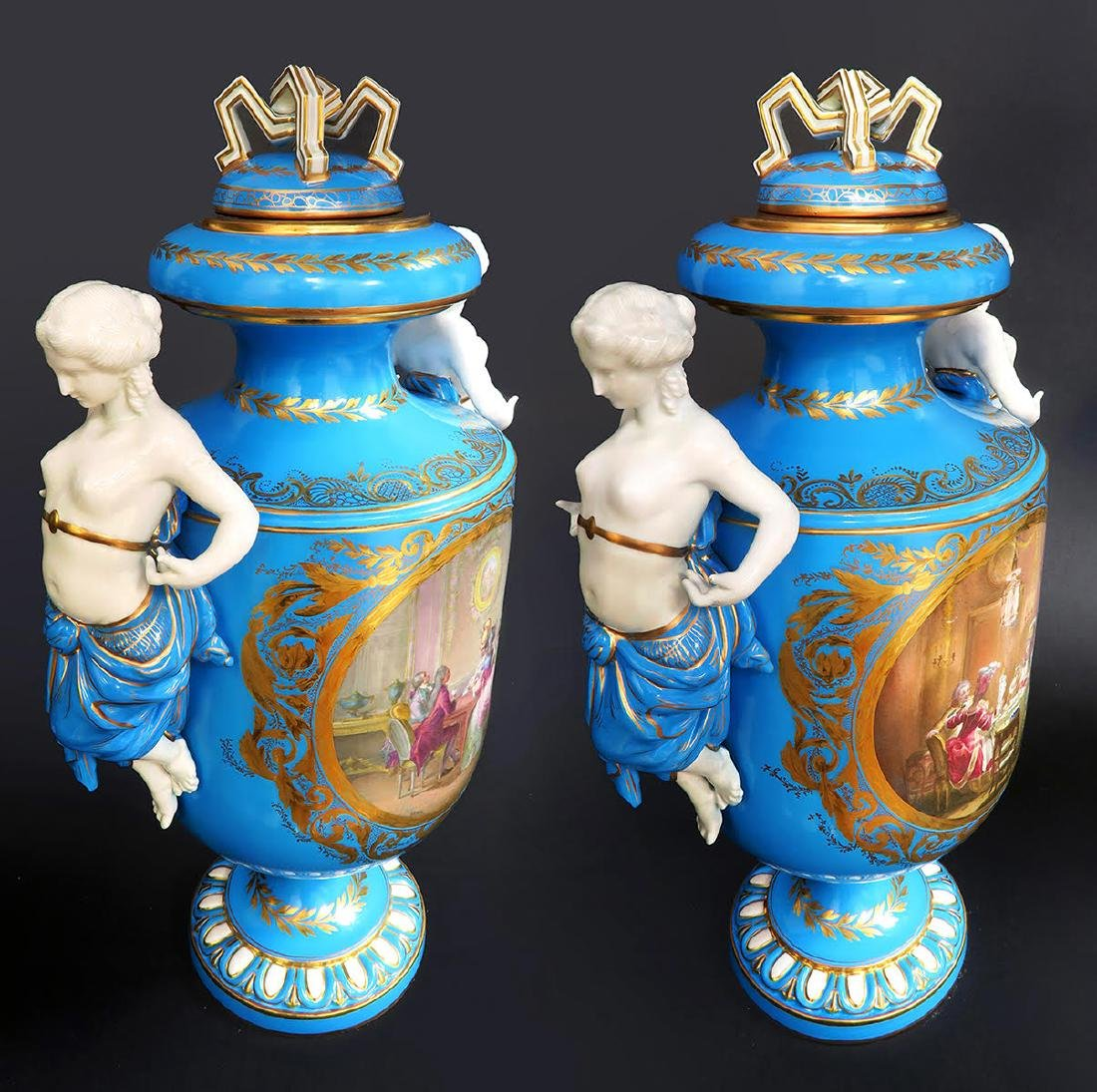 Pair of French Figural Sevres Porcelain Urns - 3