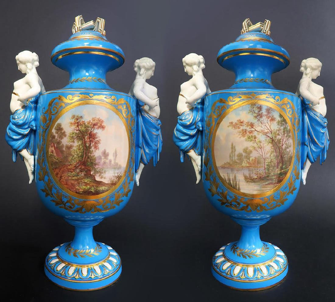 Pair of French Figural Sevres Porcelain Urns - 4