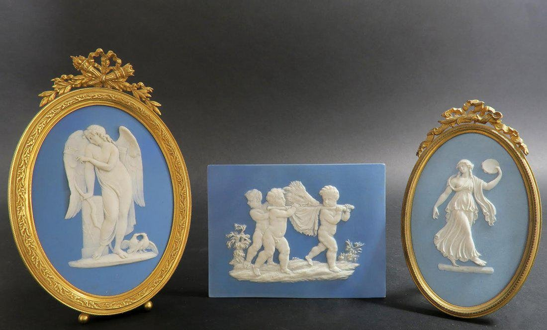 Lot of French Bronze & Wedgwood Frames & Plaques