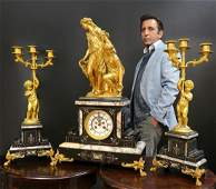 Large French Gilt Bronze Figural Clock Set