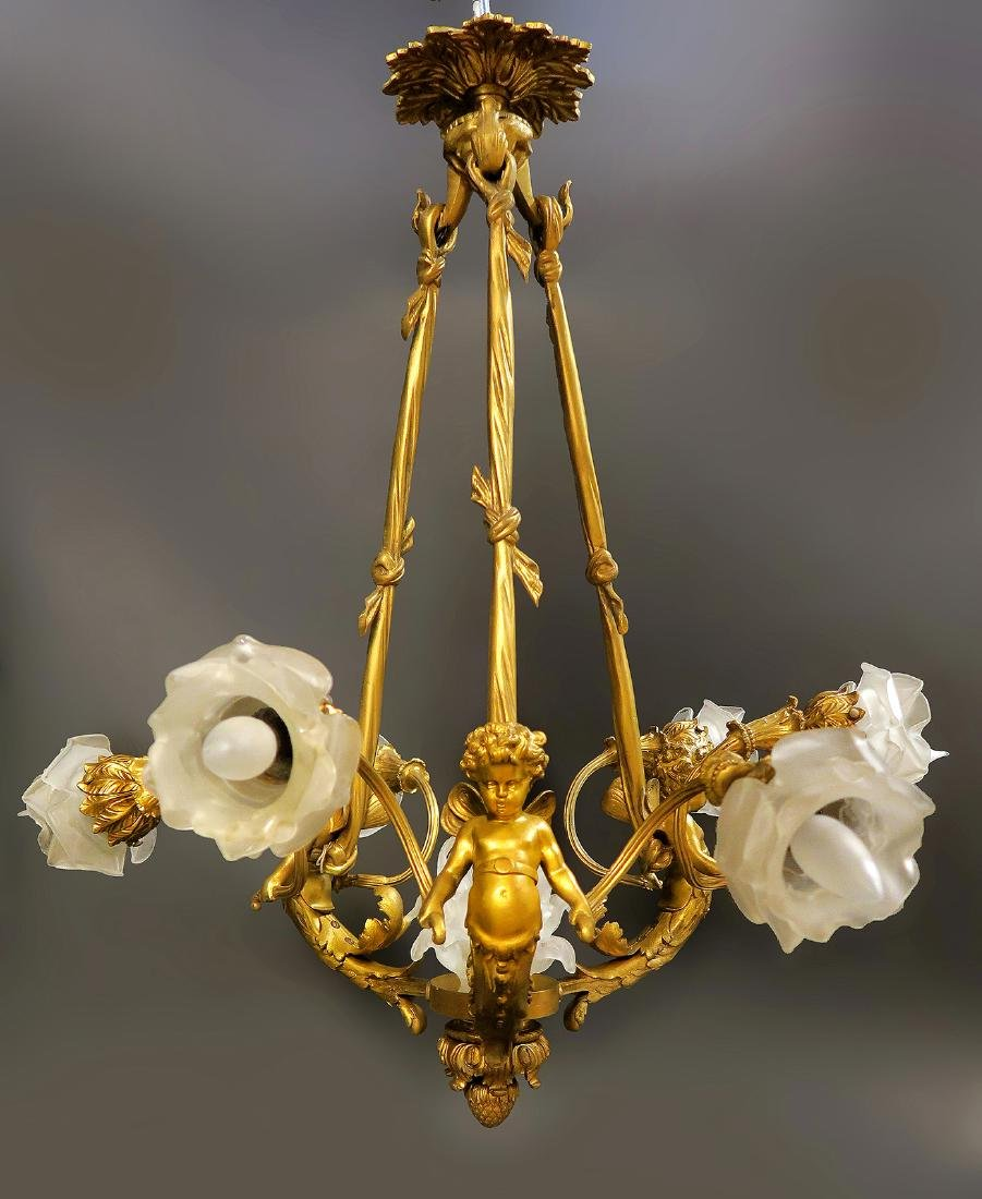 French Figural Bronze 6 Light Chandelier