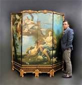 Large 19th C. French Hand Painted 4 Panel Screen