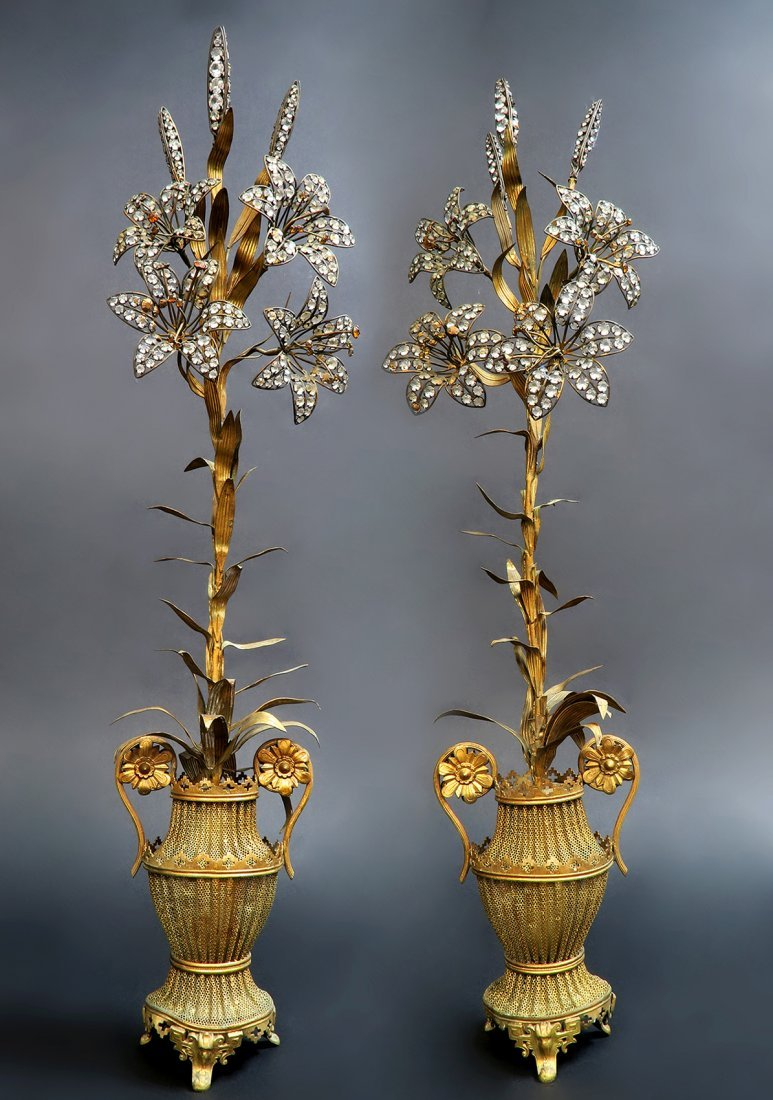 Pair of Art and Craft Decorative Jeweled Bronze Vases - 2