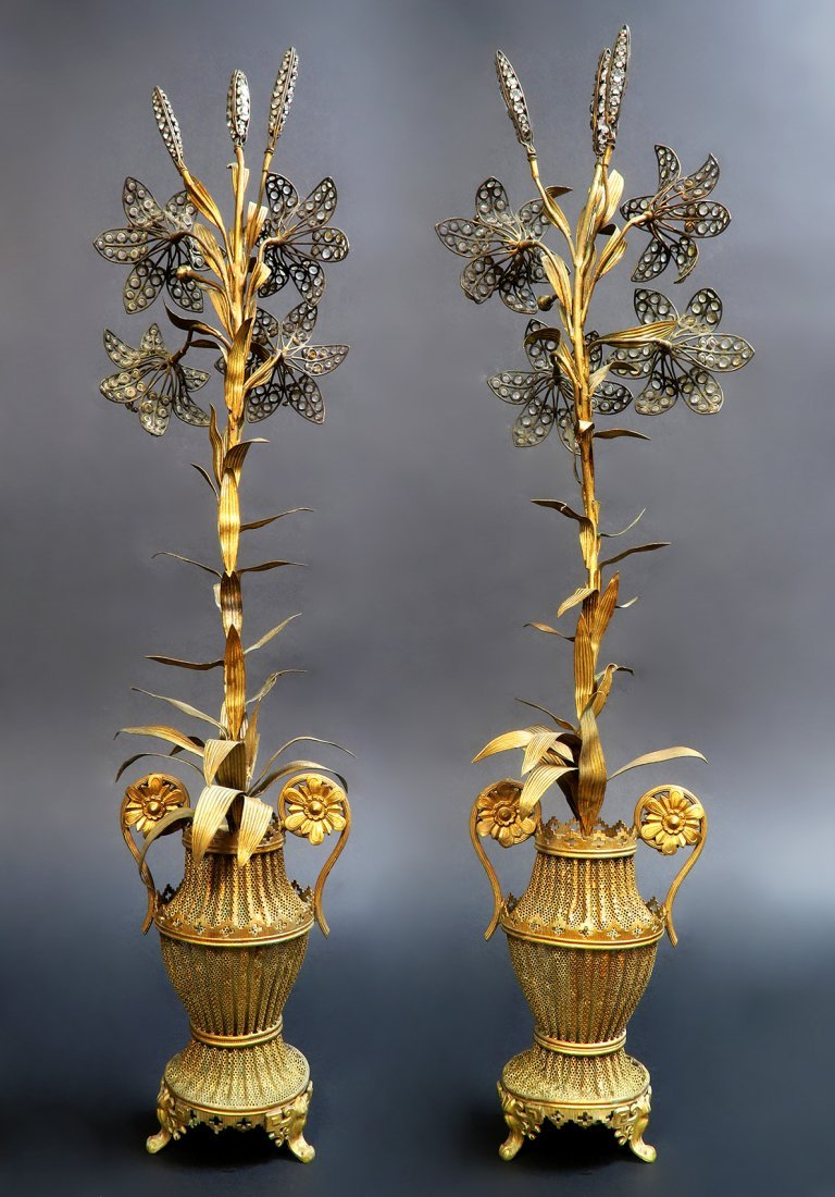 Pair of Art and Craft Decorative Jeweled Bronze Vases - 4