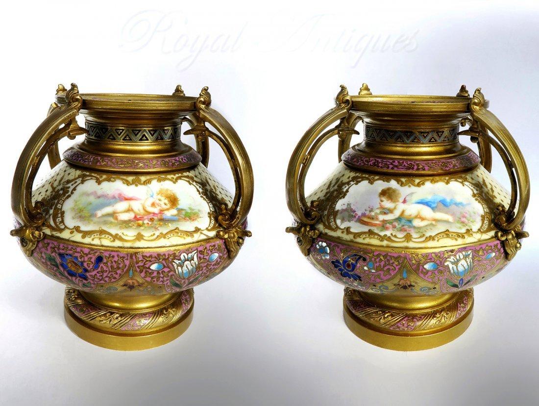 Pair of Sevres Bronze & Champleve Enamel Vases