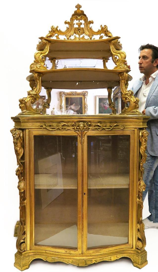 19th C Italian Carved Display Case Vitrine Cabinet