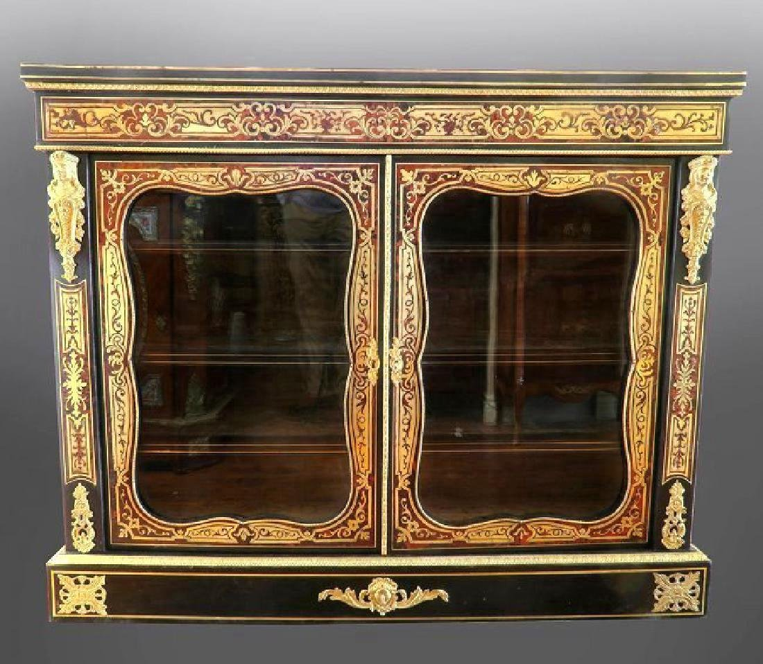 19th C French Boulle Figural Vitrine Cabinet.