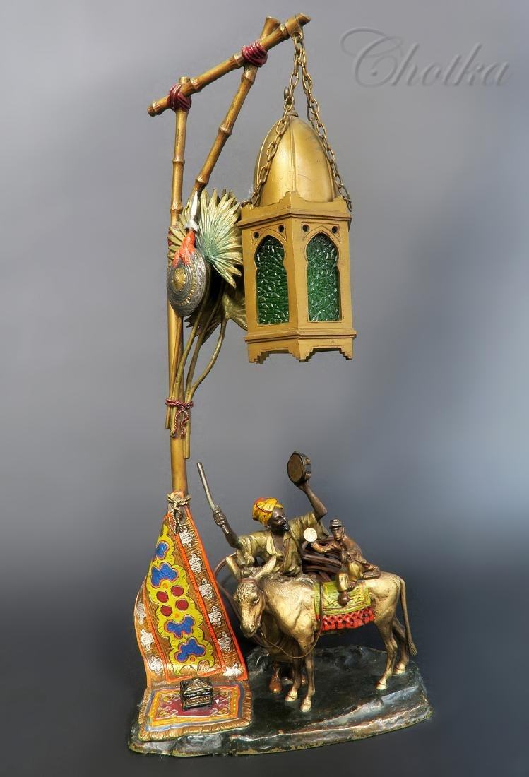"""Orientalist Cold Painted Austrian Lamp by """"Chotka"""""""