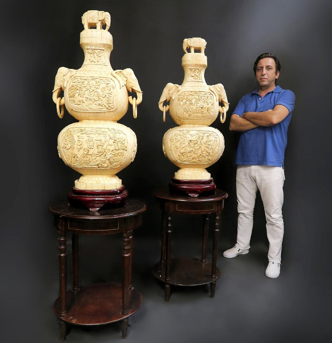 Pair of Monumental Man-Made Cultured Ivory Like Vases