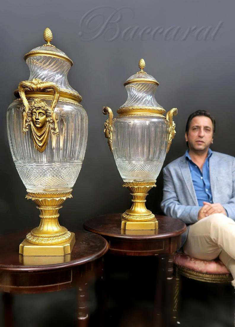 Monumental Pair of Bronze & Baccarat Vases. Signed!