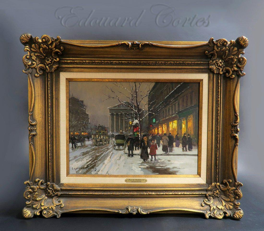 "19th C. Painting Edouard Cortes ""Rue de la Madelaine"""