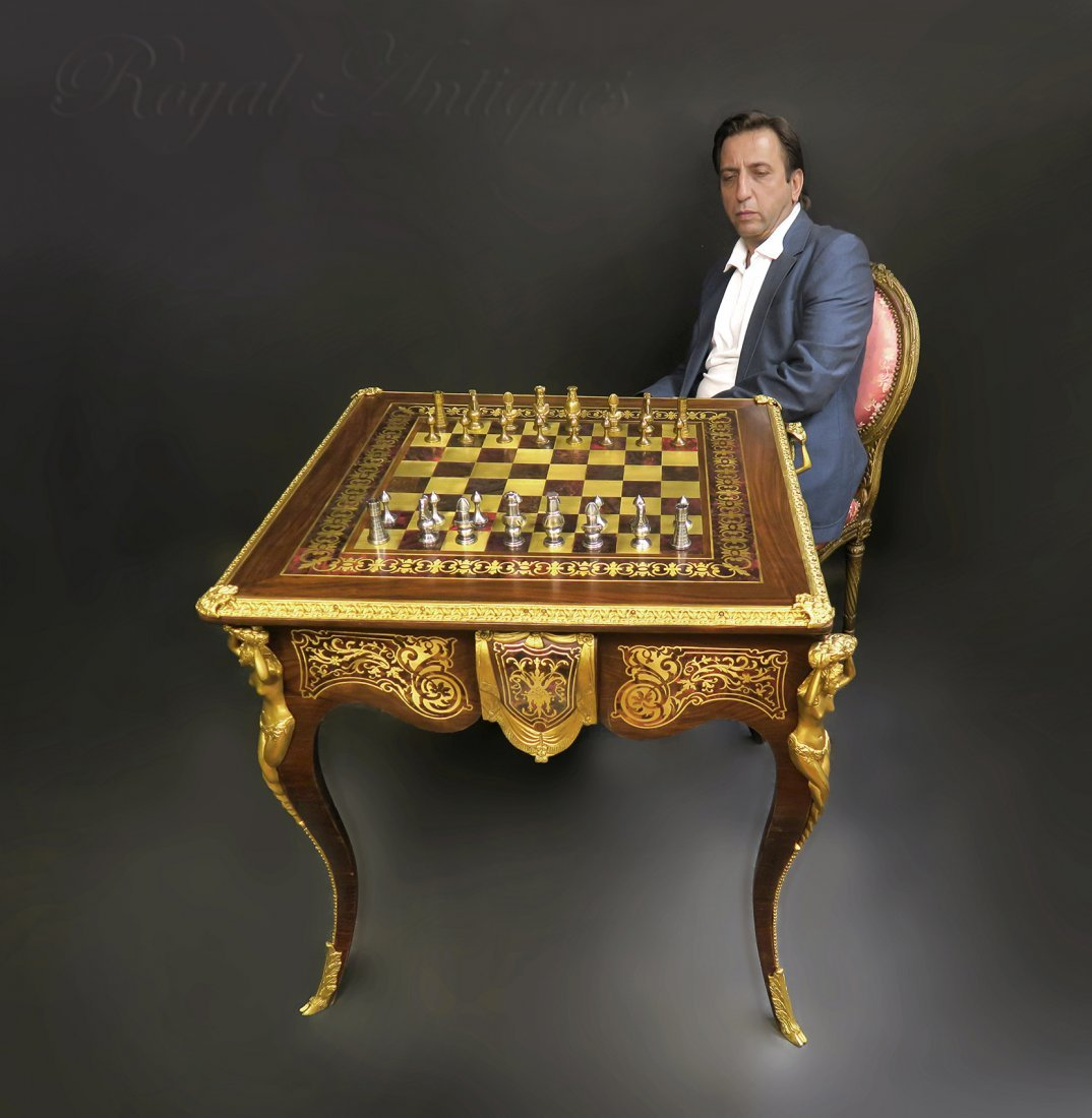 French Boulle Figural Bronze Game/ Chess Table