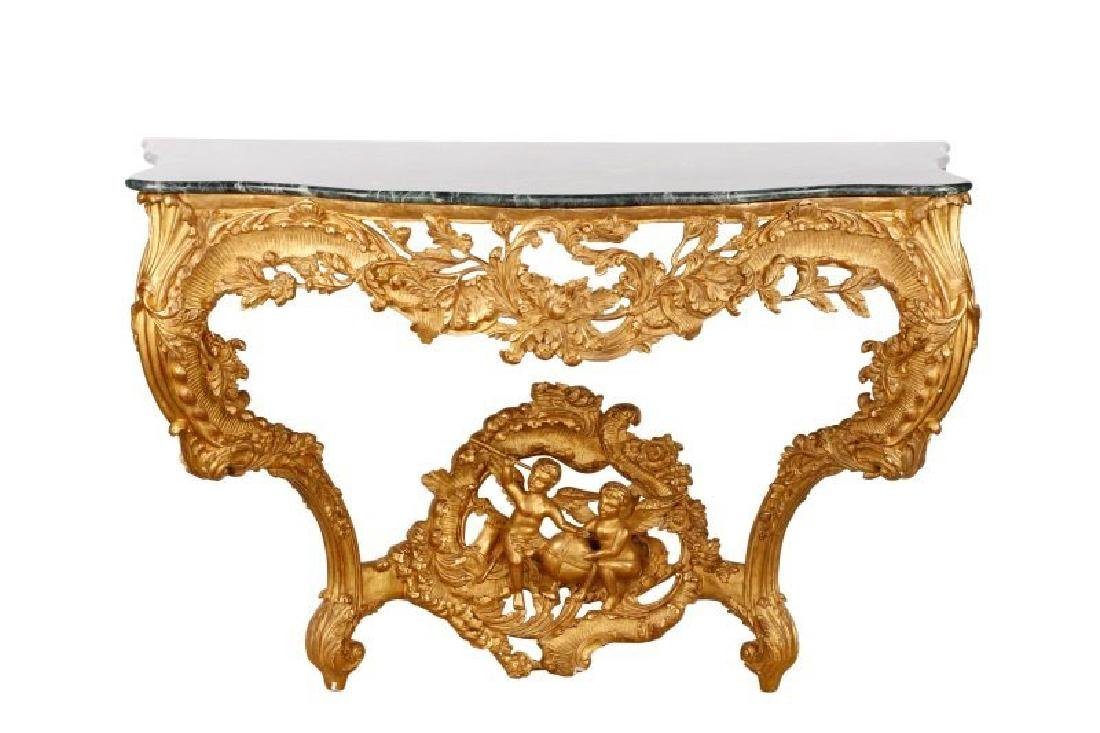 19th Century Gilt wood Marble Top Console Table