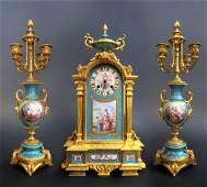19th C. Sevres Jeweled Turquoise Clock Set