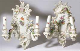 Pair of Schierholz Porcelain wall sconces