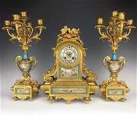 19 C French Garniture Gilt Bronze Clock Set