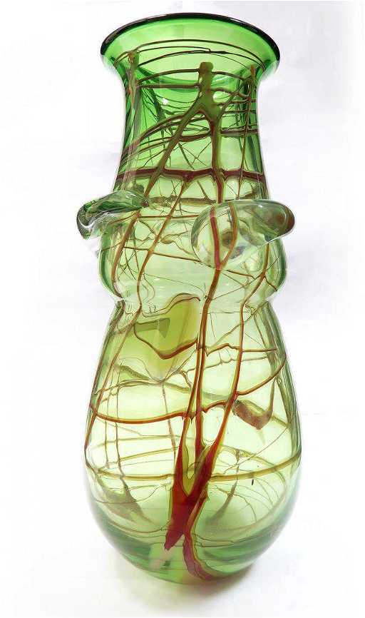 Large Murano Glass Vase In Green And Multicolor