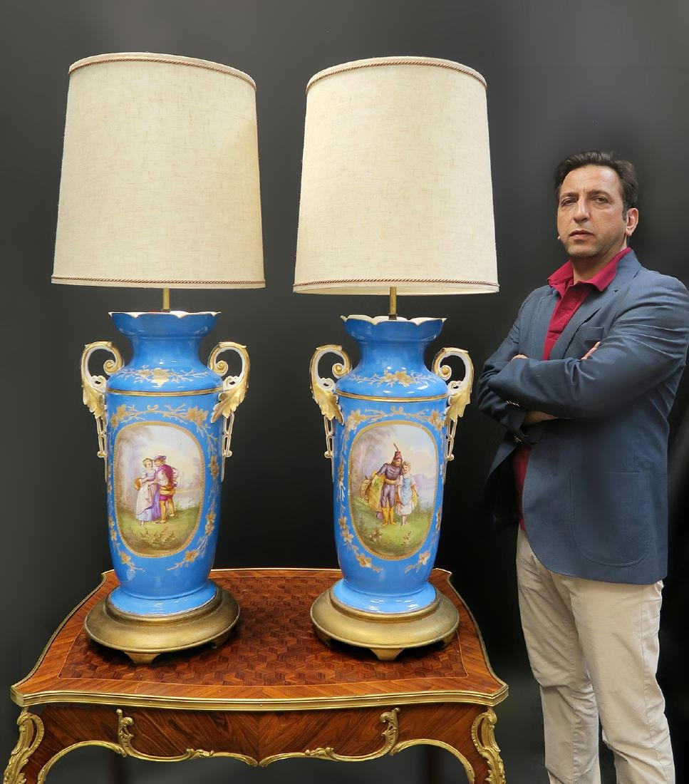 Monumental Pair of French Sevres Lamps, 19th C.