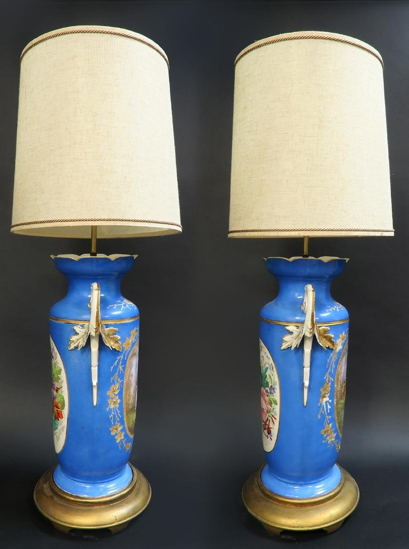 Monumental Pair of French Sevres Lamps, 19th C. - 4