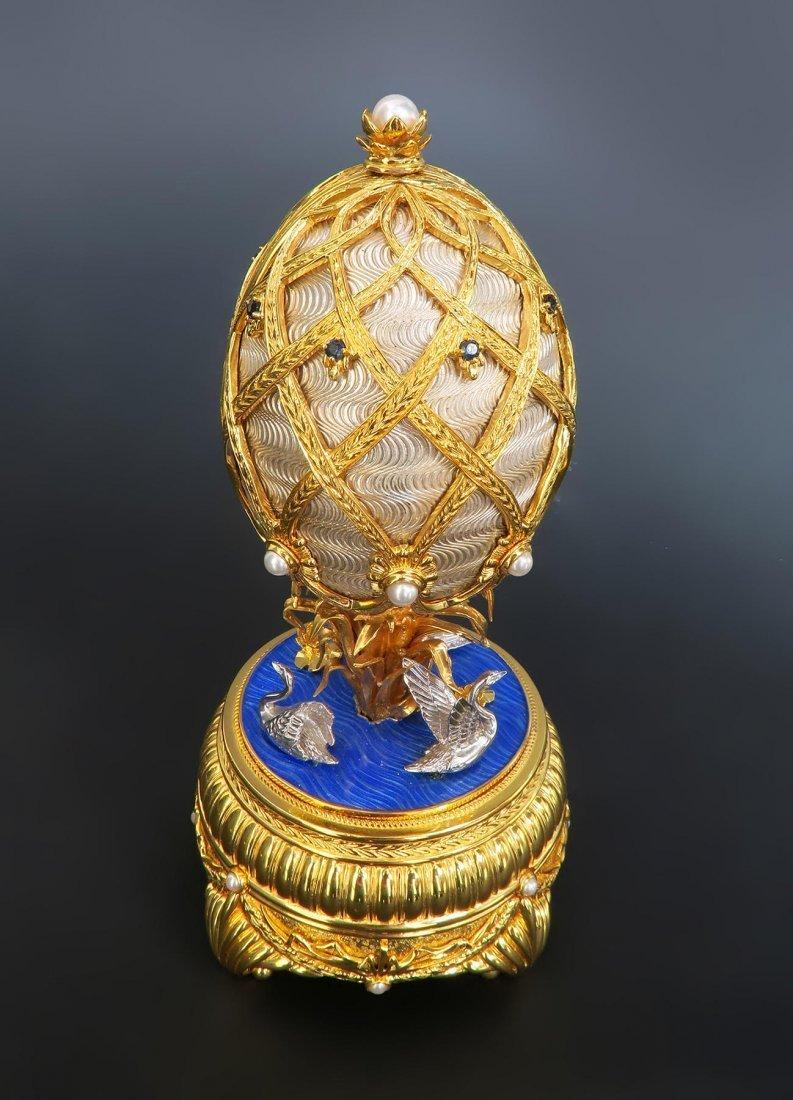 Faberge Swan Lake Imperial Jeweled Musical Egg - 6