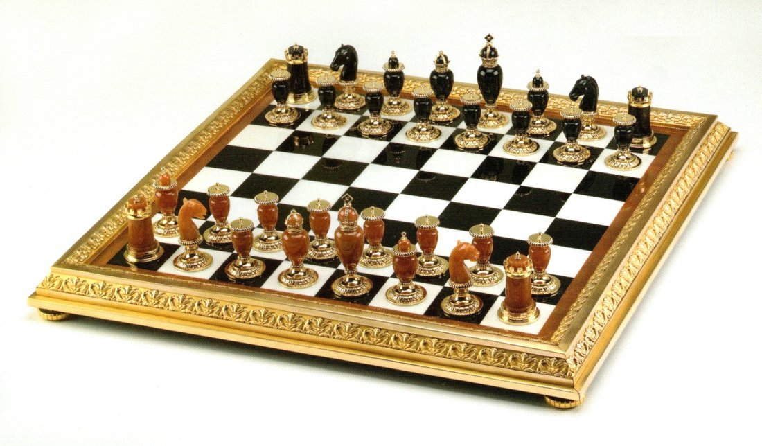Faberge Imperial Onyx, Agate & Calcite Chess Set