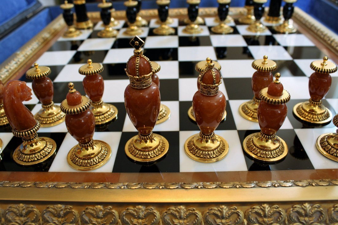 Faberge Imperial Onyx, Agate & Calcite Chess Set - 4