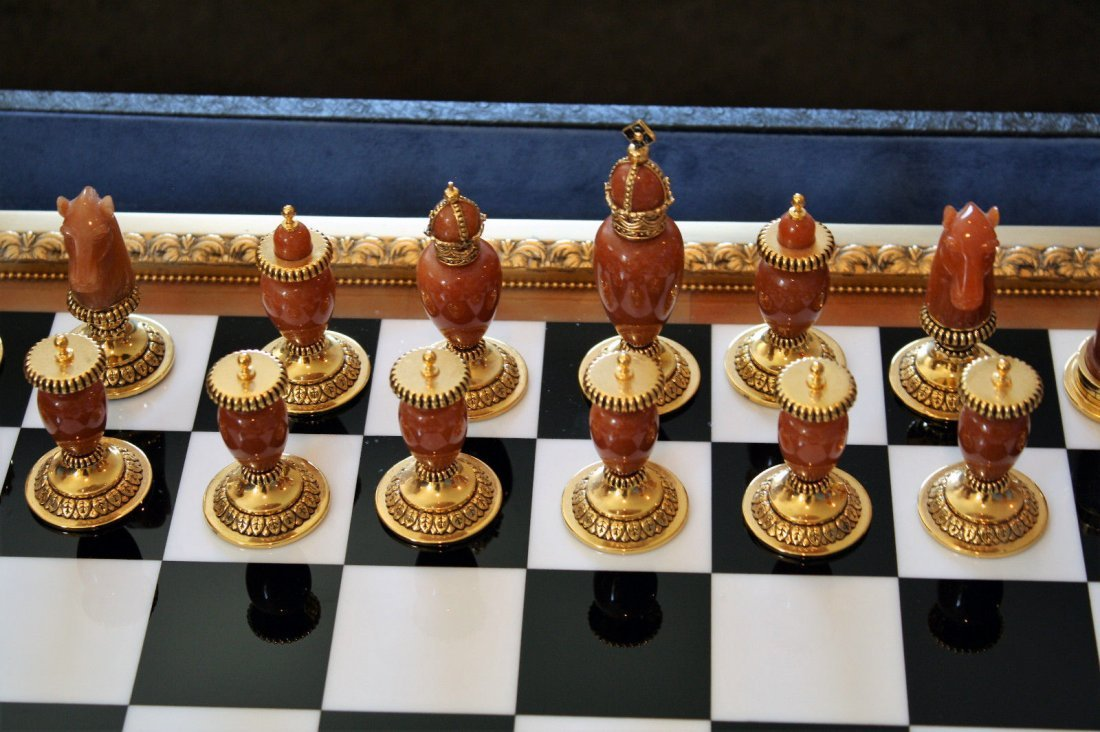 Faberge Imperial Onyx, Agate & Calcite Chess Set - 5