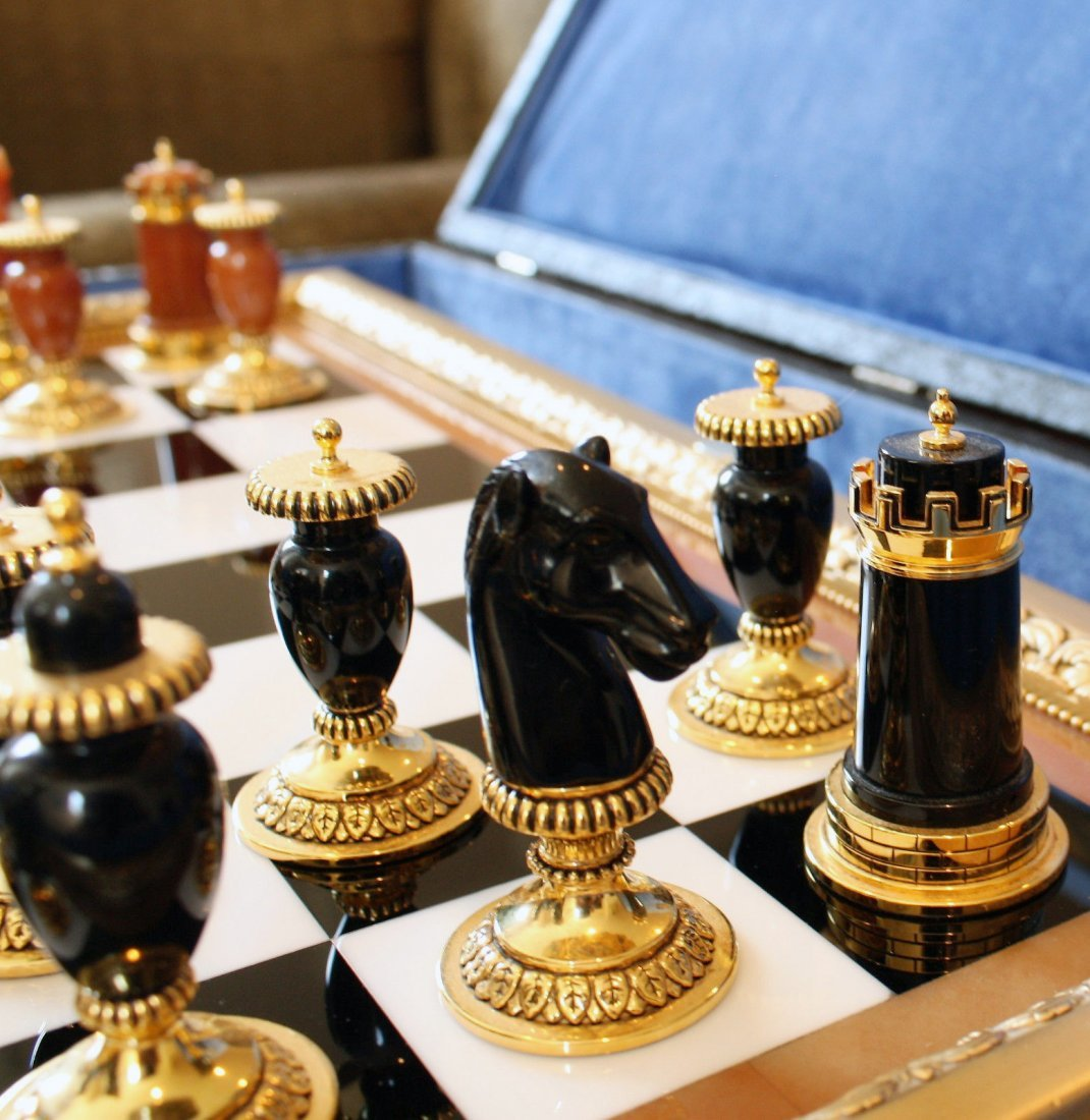 Faberge Imperial Onyx, Agate & Calcite Chess Set - 6