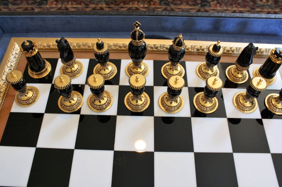 Faberge Imperial Onyx, Agate & Calcite Chess Set - 7