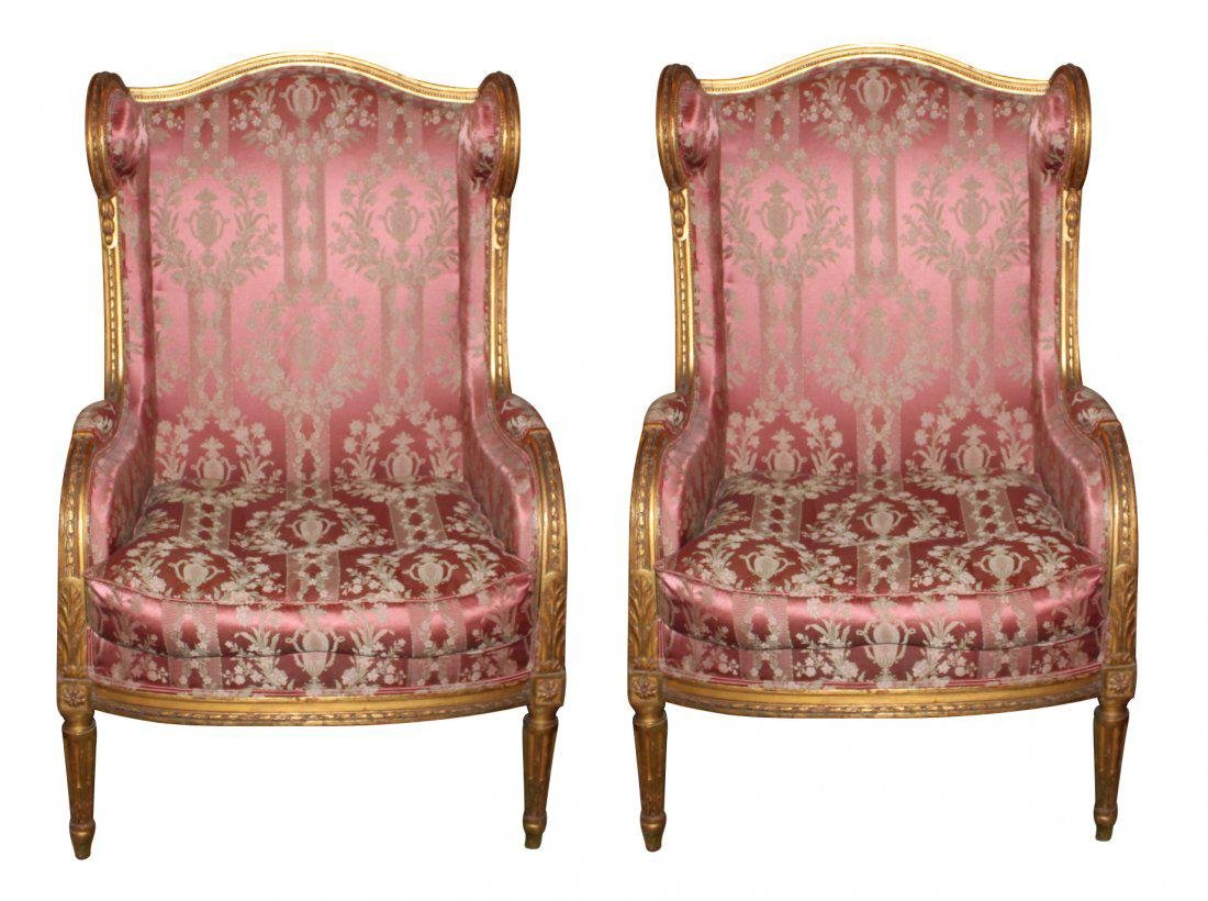 Pair of 19th C. French Louis XVI Gilt wood Bergeres