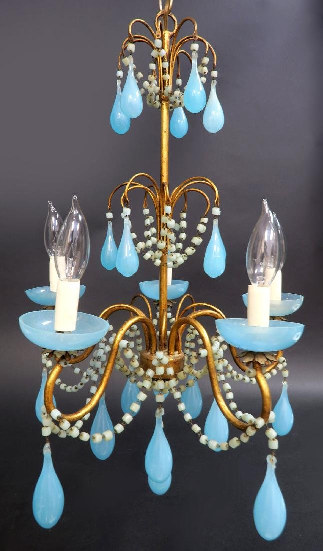 French Baccarat Blue Opaline Chandelier. 19th C.