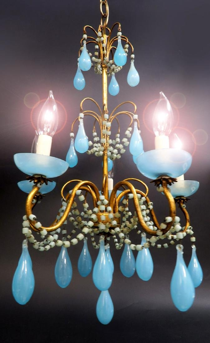 French Baccarat Blue Opaline Chandelier. 19th C. - 2