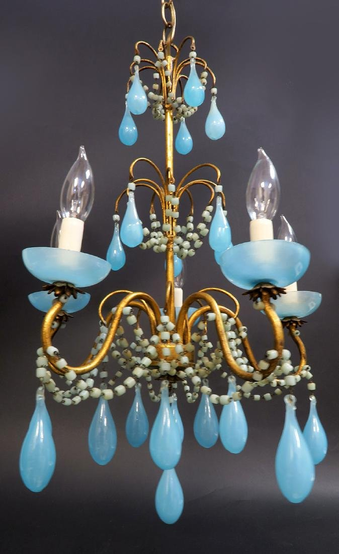 French Baccarat Blue Opaline Chandelier. 19th C. - 3