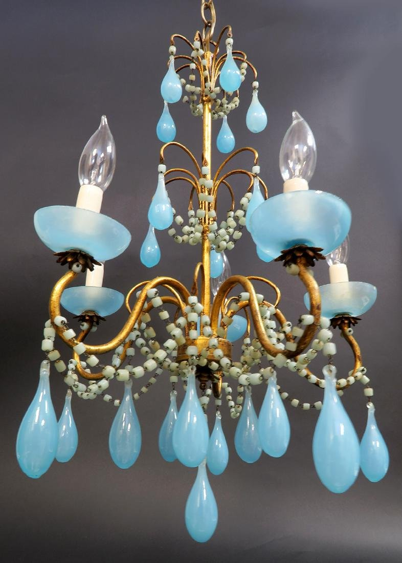 French Baccarat Blue Opaline Chandelier. 19th C. - 4