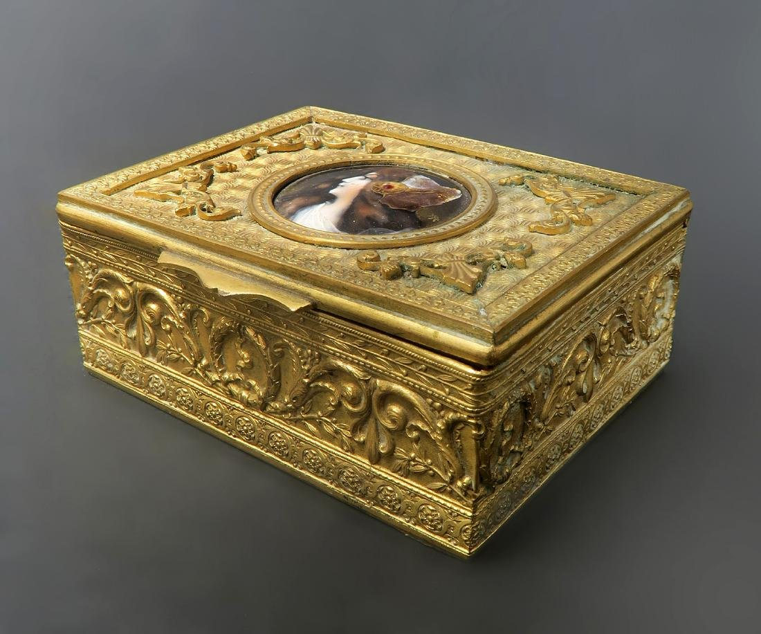 French Bronze Jewelry Box with Enamel Plaque. 19th C.