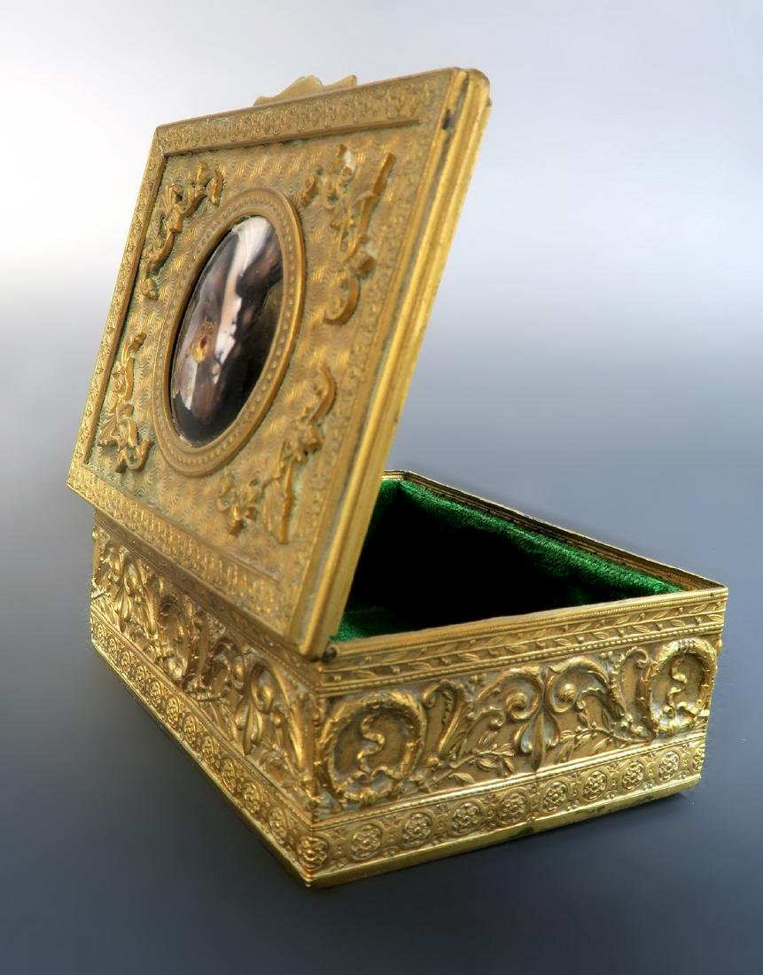 French Bronze Jewelry Box with Enamel Plaque. 19th C. - 2